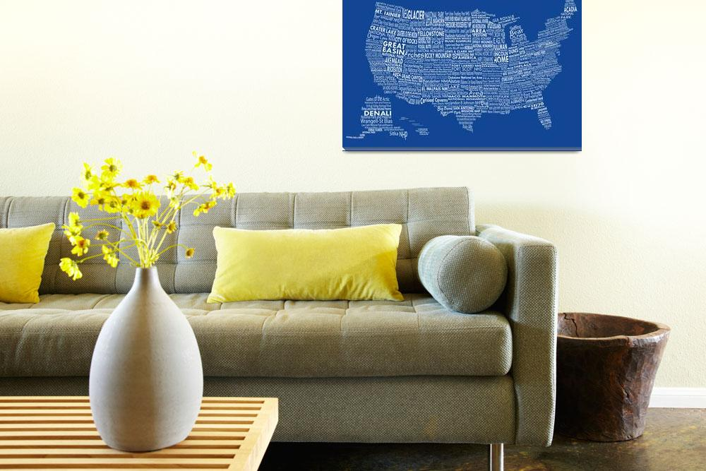 """United States National Parks Typography Map""  by Alleycatshirts"