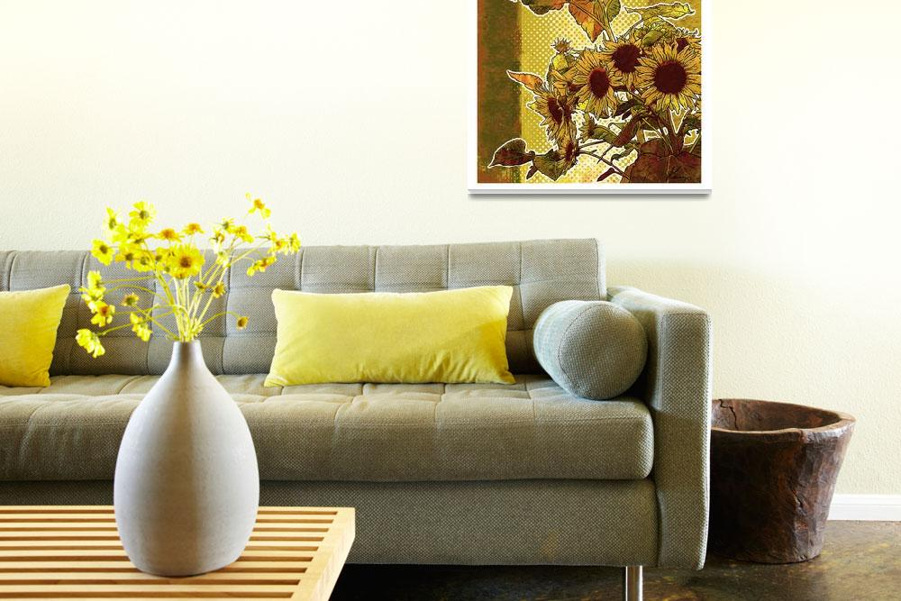 """Modern Florals: Sunflowers&quot  (2009) by karynlewis"