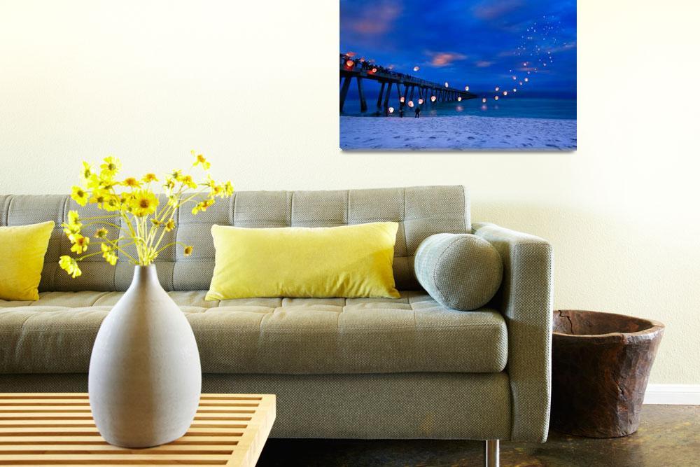 """Inspirational Art Print Paper Lanterns Landscape""  (2013) by eszra"