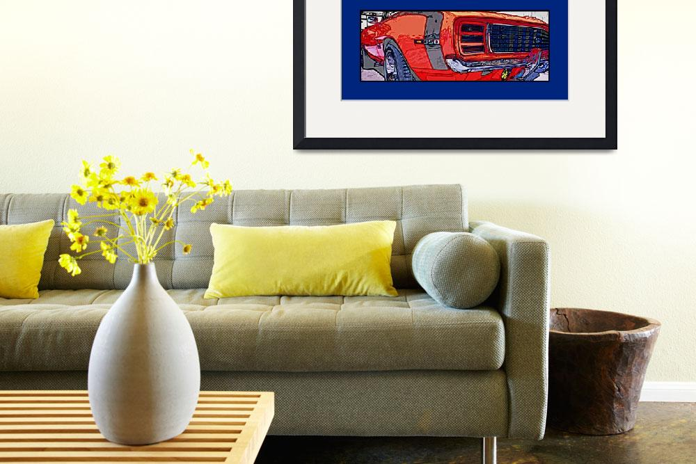 """""""1969 Camaro RS SS Poster Blue Border - Linda Foy&quot  (2009) by Automotography"""