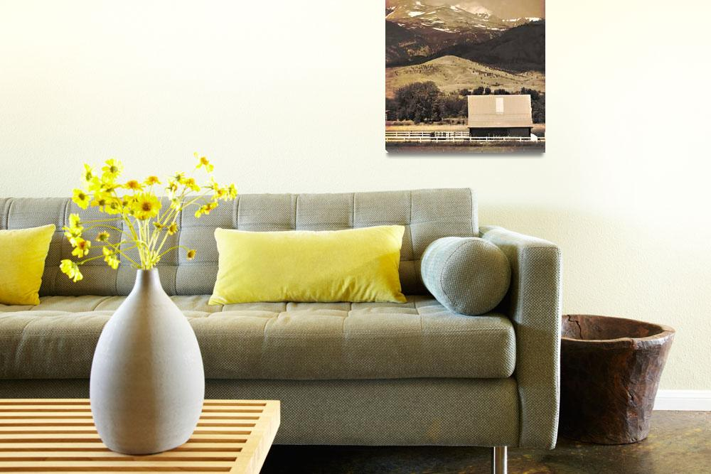 """""""Barn with a Rocky Mountain View Sepia Photo Print&quot  (2010) by lightningman"""