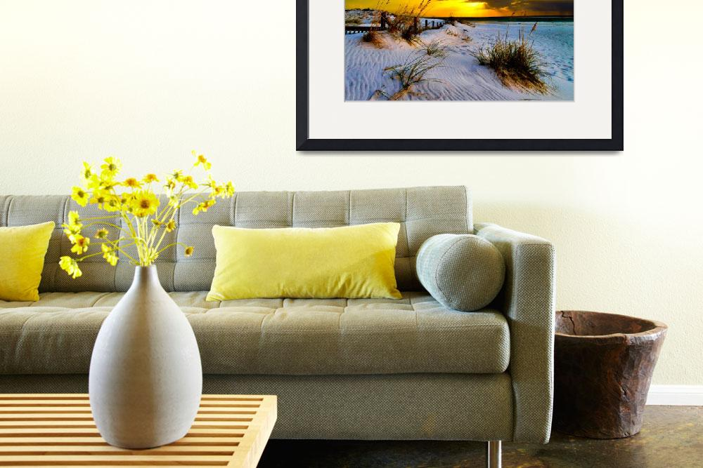 """Sunset Golden Sun Rays Print Landscape Fine Art&quot  (2012) by eszra"