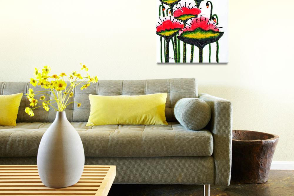 """""""Expressive Wild Red Pink and Yellow Poppies w4a&quot  (2014) by Ricardos"""