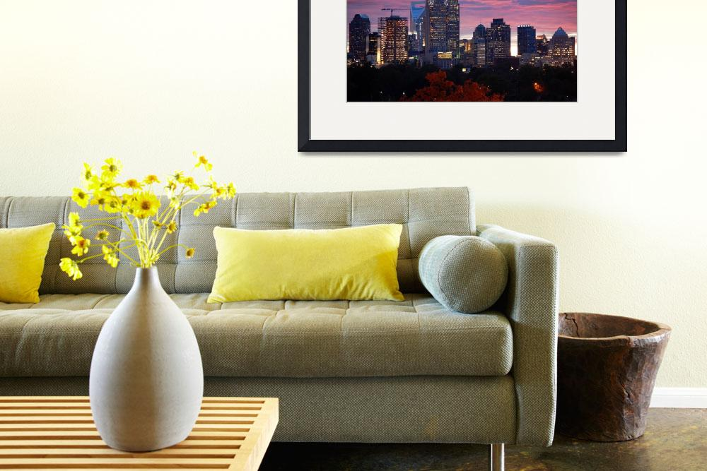 """""""Charlotte Skyline at Sunset&quot  (2009) by WillamorMedia"""