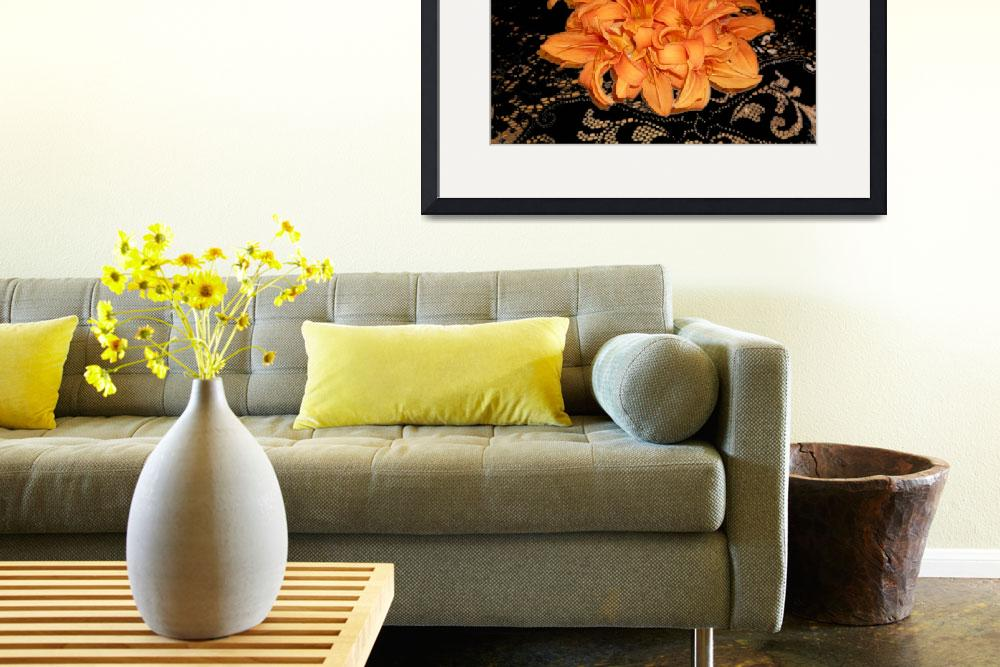 """""""Cluster of Orange Day Lilies on Black Lace&quot  (2008) by aparnaphadnis"""