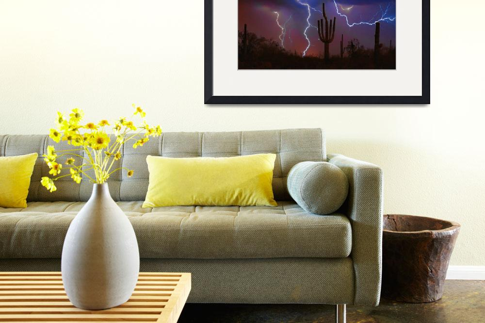 """Saguaro Lightning Strike Fine Art Photography&quot  (2008) by lightningman"