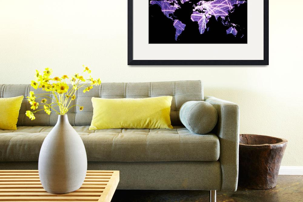 """World Map Silhouette - Fireworks&quot  by Alleycatshirts"