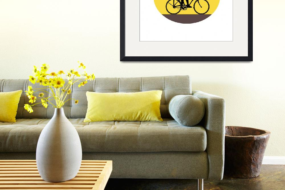 """""""Man Riding Easy Rider Bicycle Silhouette Oval Retr&quot  (2017) by patrimonio"""