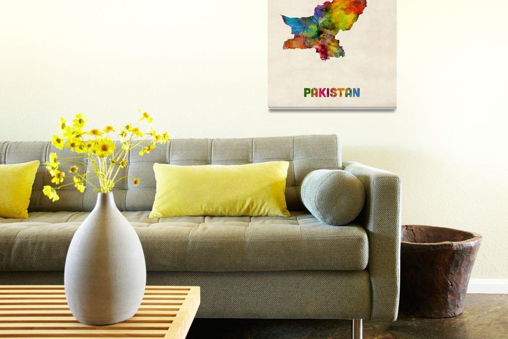 """Pakistan Watercolor Map""  (2014) by ModernArtPrints"