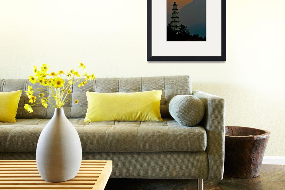 """""""Meditation Poster Chinese Pagoda&quot  (2011) by tgrgalleries"""