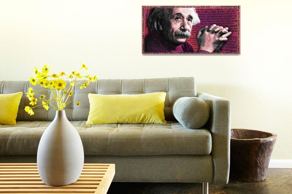 """""""Albert Einstein and Quotes Red&quot  (2014) by RubinoFineArt"""