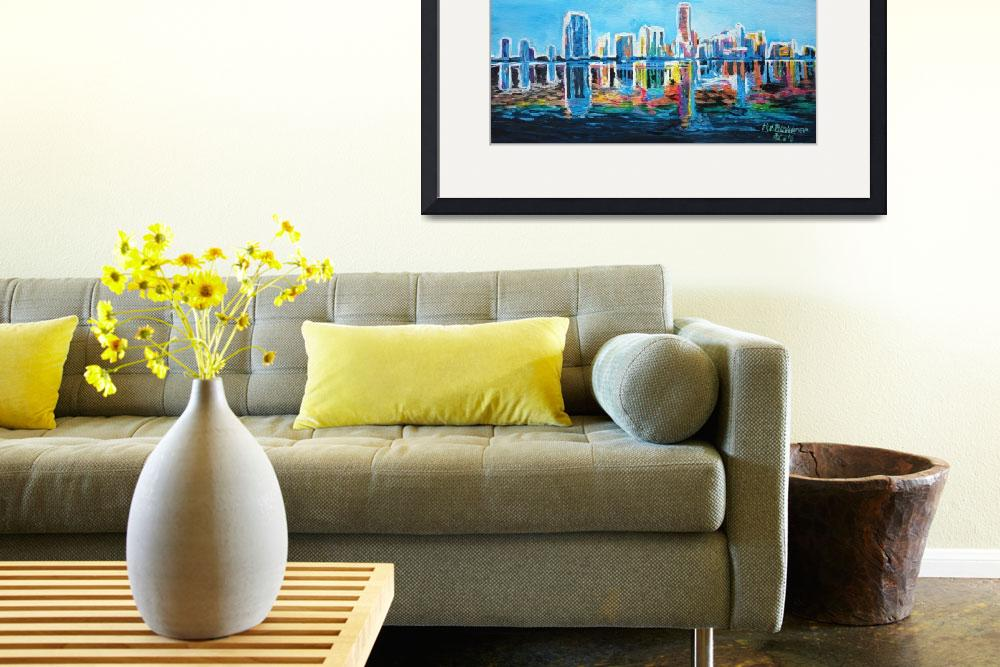 """""""Neon Shimmering Skyline Silhouette, Miami, Florida""""  (2014) by arthop77"""