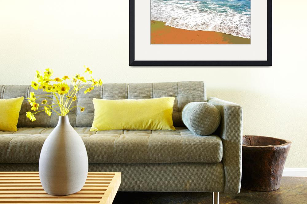 """Horizontal beach surf 1 orange sand&quot  (2008) by LeslieTillmann"