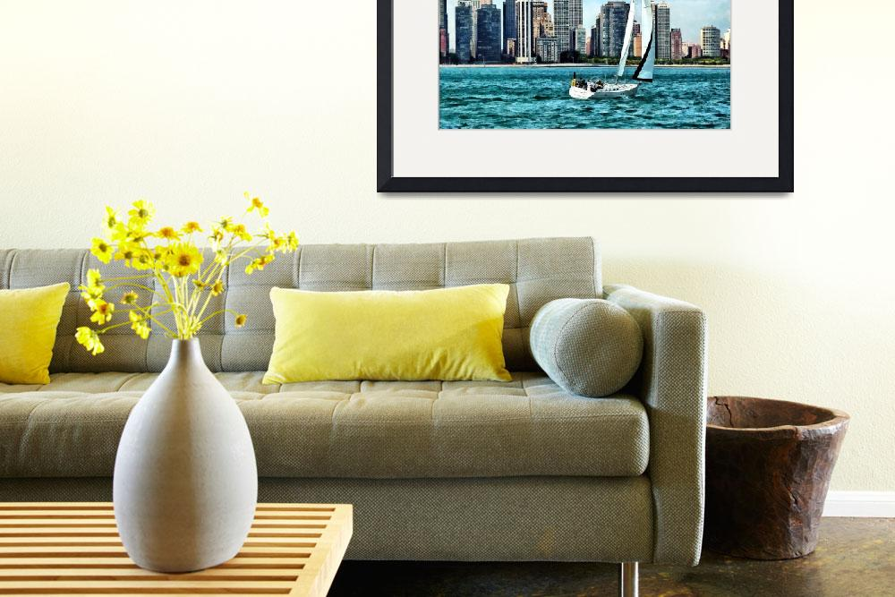 """""""Chicago IL - Sailboat Against Chicago Skyline&quot  by susansartgallery"""