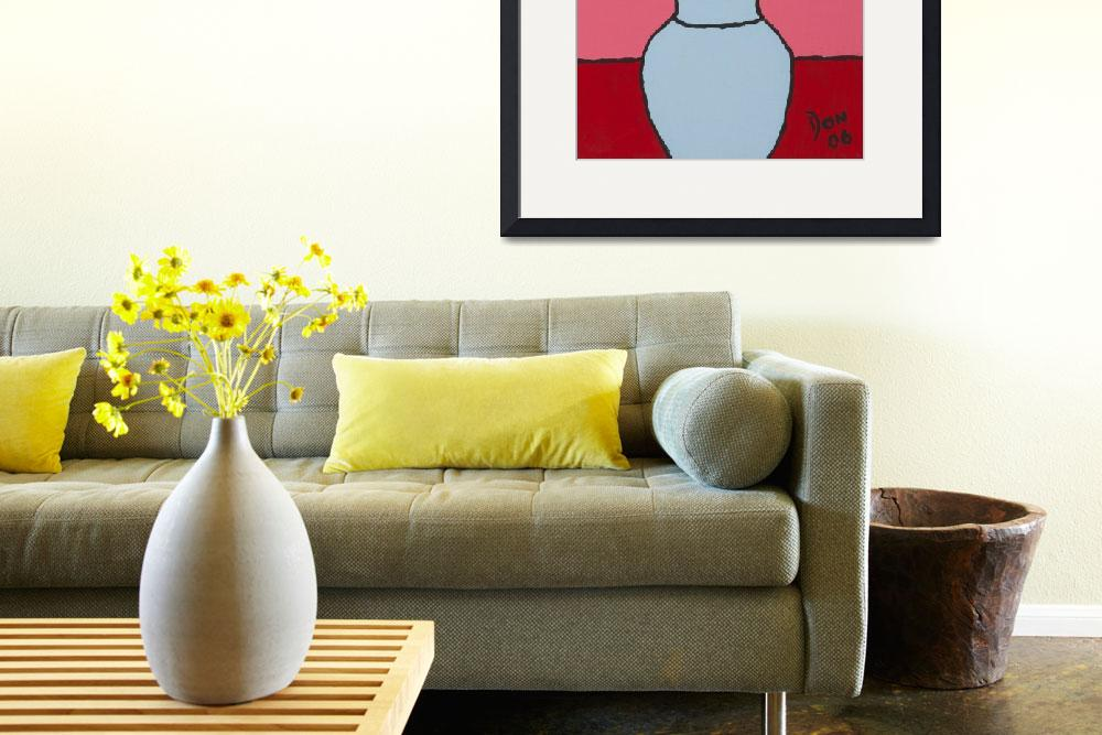 """yellow flower light blue vase&quot  by DonKing"