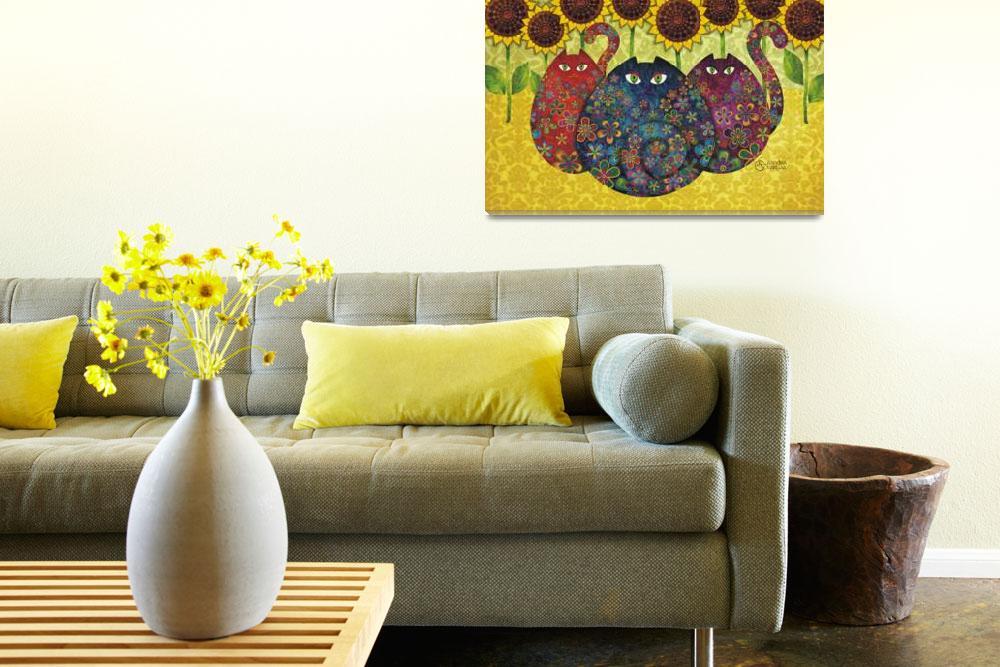 """Cats with Sunflowers&quot  (2009) by sandygrafik_arts"