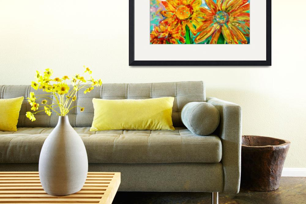 """""""Colorful Sunflowers&quot  (2012) by Tanya_Dawn_Art"""