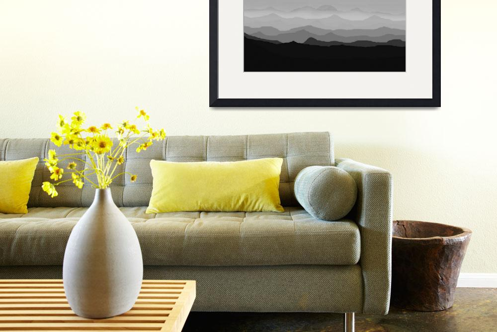 """""""Abstract Decorative Misty Blue Mtn Sunrise B&W&quot  (2013) by TheNorthernTerritory"""
