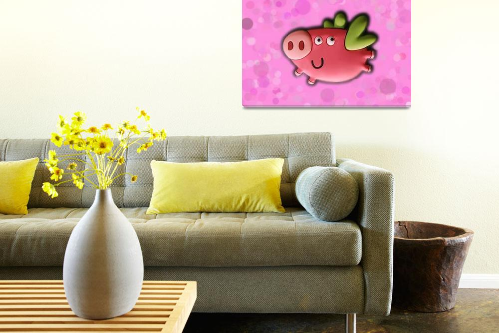 """""""Toy pig on pink background""""  (2011) by Kybdica"""