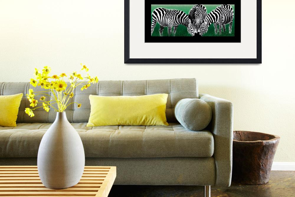 """Green Meadow Zebras""  (2010) by Art_By_Design_Studio"