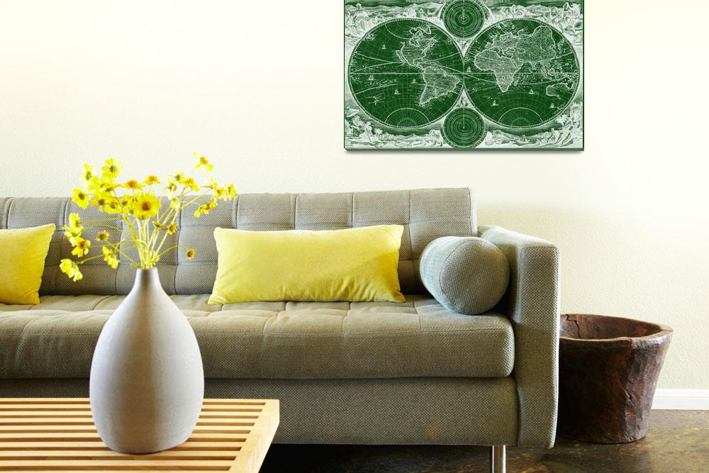 """""""World Map (1730) Green & White&quot  by Alleycatshirts"""