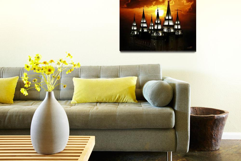 """""""20x24 Salt Lake Temple Sunset Spires&quot  (2009) by lightvoyages"""
