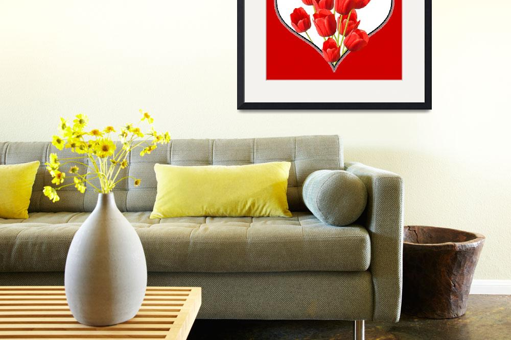 """Valentines Heart Tulips Square Wall Art""  (2012) by NatalieKinnear"