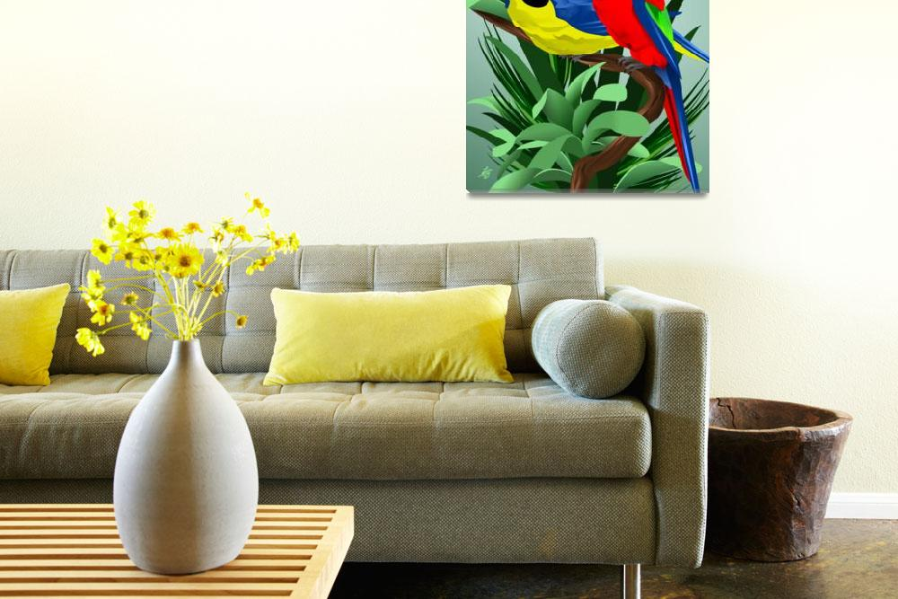 """""""Two Parrots&quot  by waterart"""
