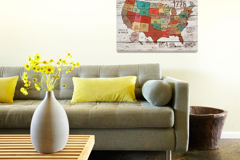 """ORL-2989-1 The United States of America Map I&quot  by Aneri"