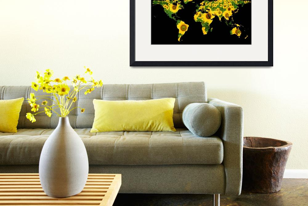 """World Map Silhouette - Sunflowers&quot  by Alleycatshirts"