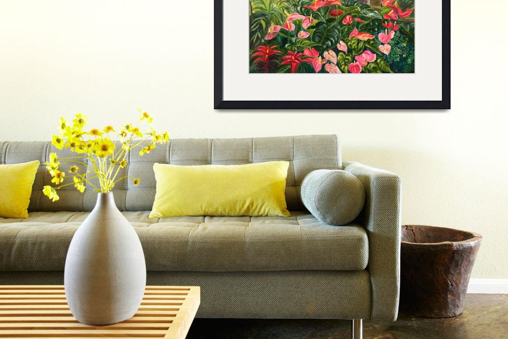 """""""Tropical Red and Pink Anthurium Jungle&quot  by JennyFloravita"""