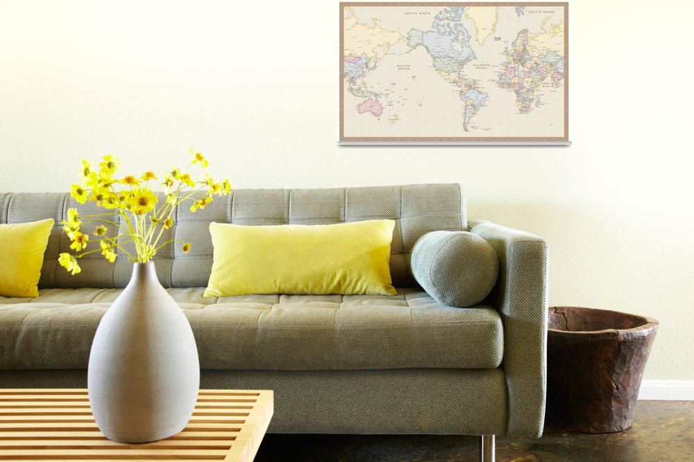 """Antique Mercator World Map&quot  (2010) by Custom-Maps"