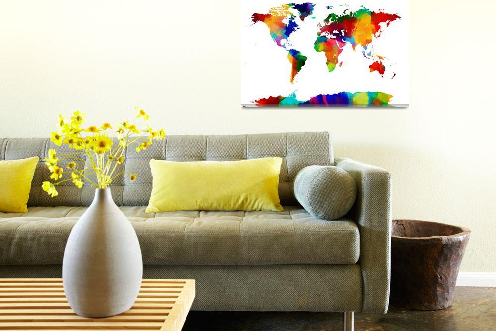"""""""Map of the World Map Painting""""  (2012) by ModernArtPrints"""