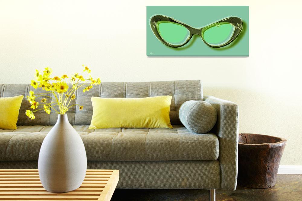 """""""Retro Glasses Funky Pop Mint Green""""  by RubinoFineArt"""