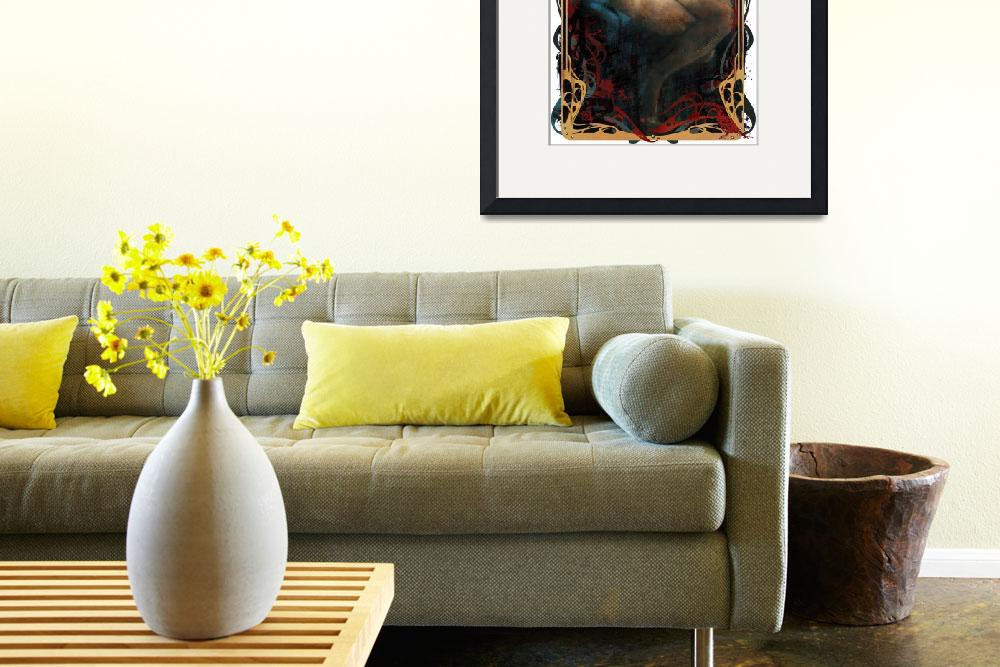 """""""Angel  (with graphic border)&quot  (2010) by OpieSnowPrints"""