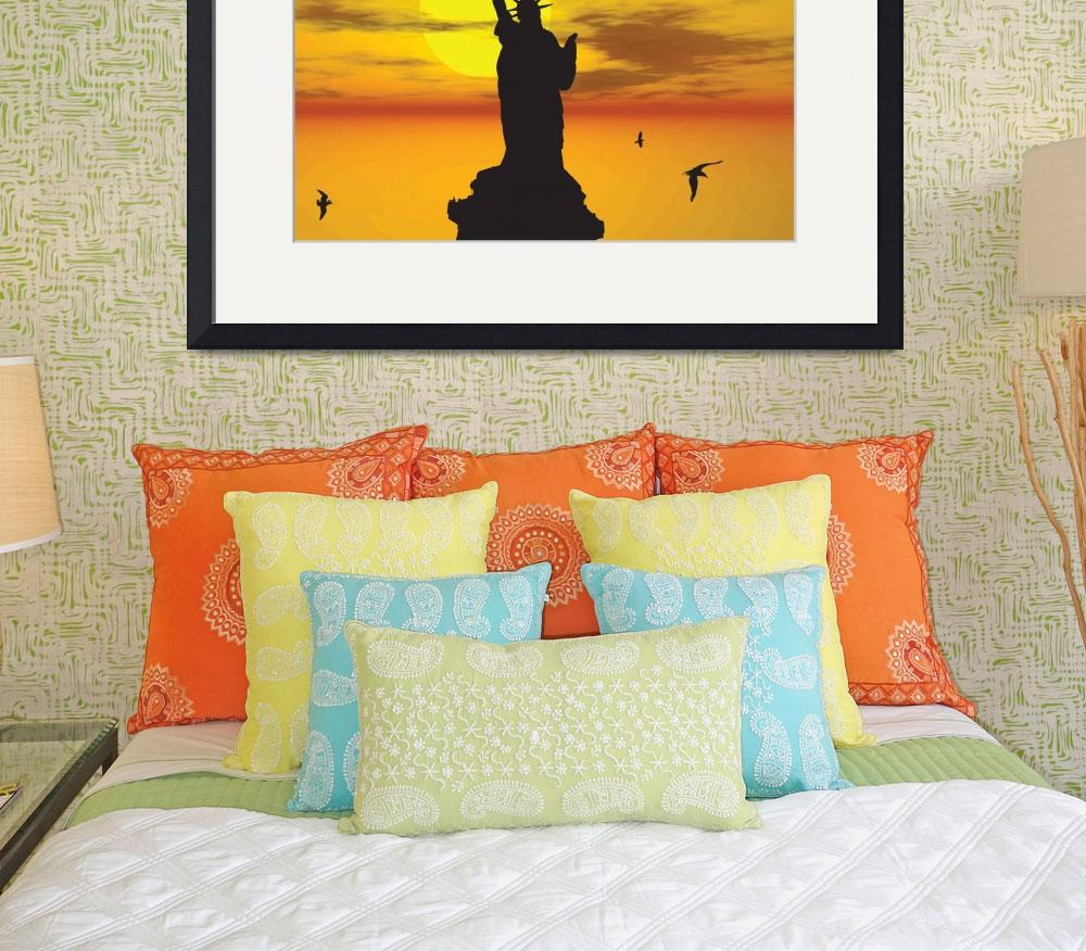 """""""Statue of Liberty Silhouette against the Sunset Il&quot  (2013) by New-Yorkled"""
