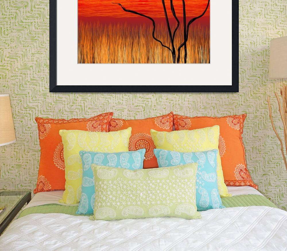 """Digital painting of tree in a sunset&quot  (2009) by digitalpainting"