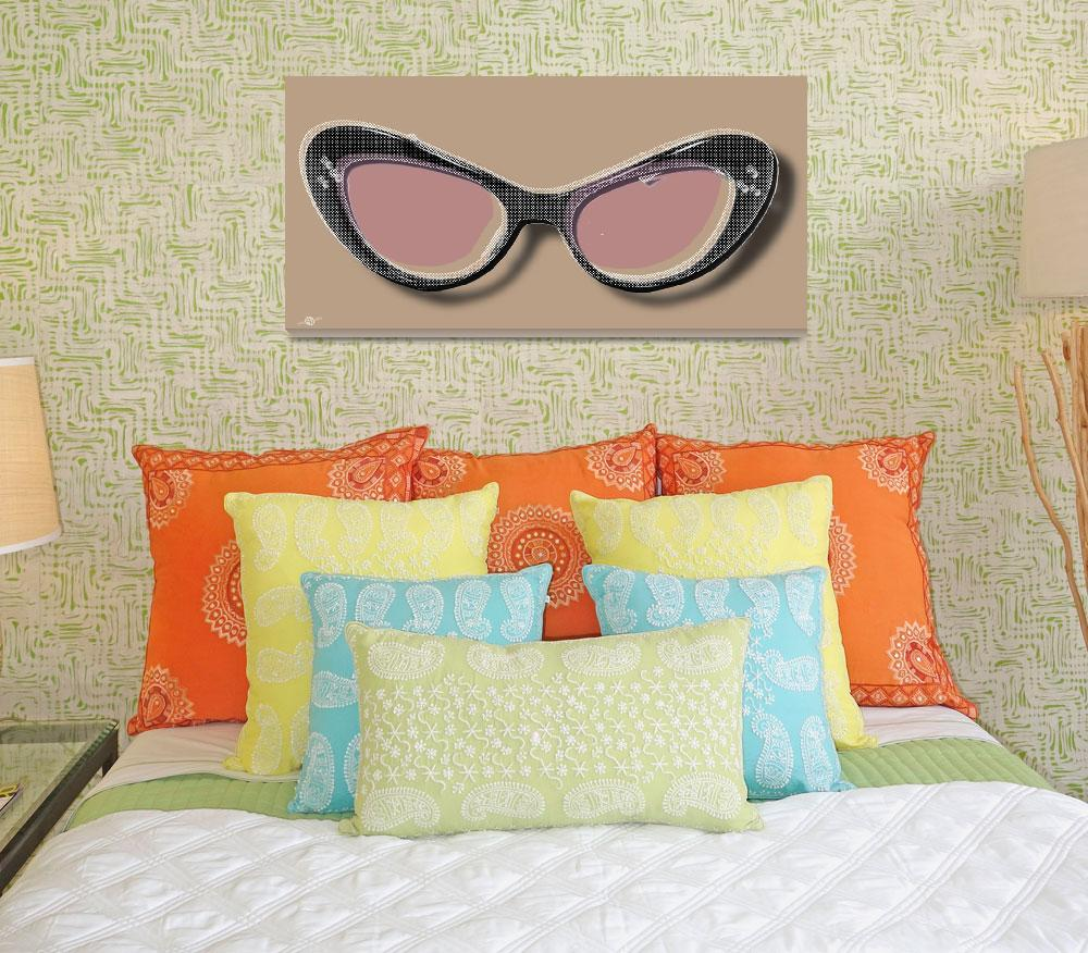"""""""Retro Glasses Funky Pop Pink Rose Brown&quot  by RubinoFineArt"""