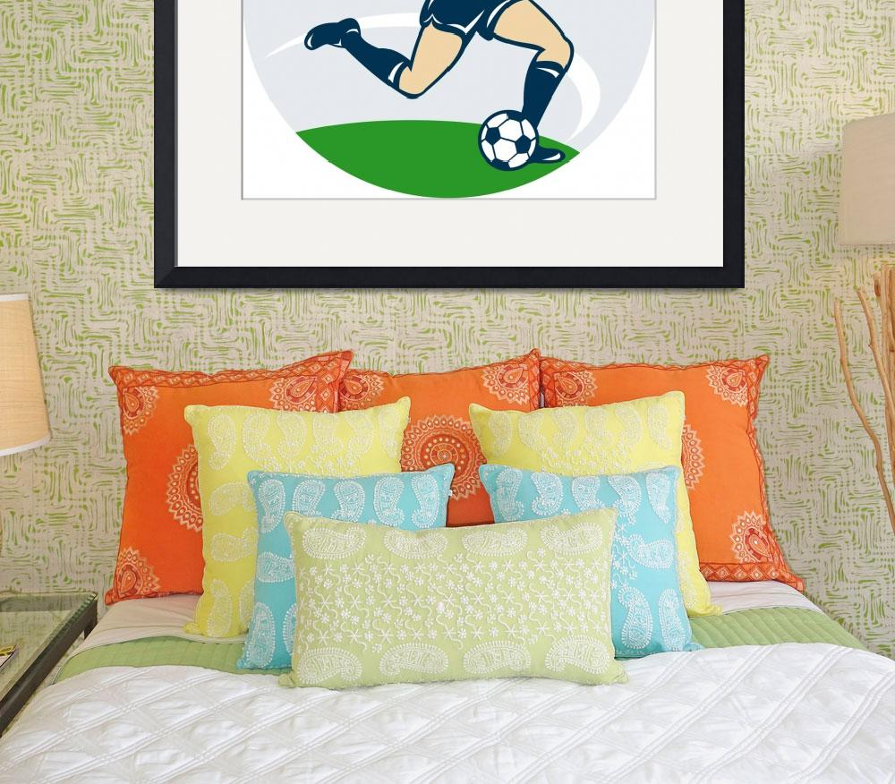 """soccer player woman kicking ball&quot  (2013) by patrimonio"