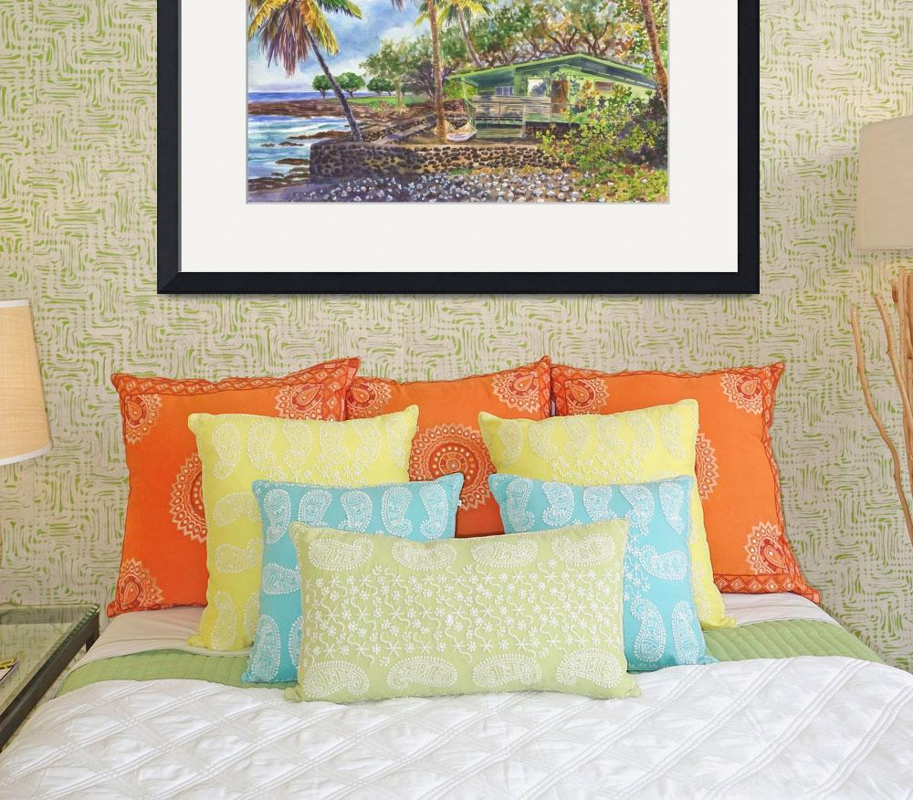"""Green Kona Beach House Hawaii painting&quot  by JennyFloravita"