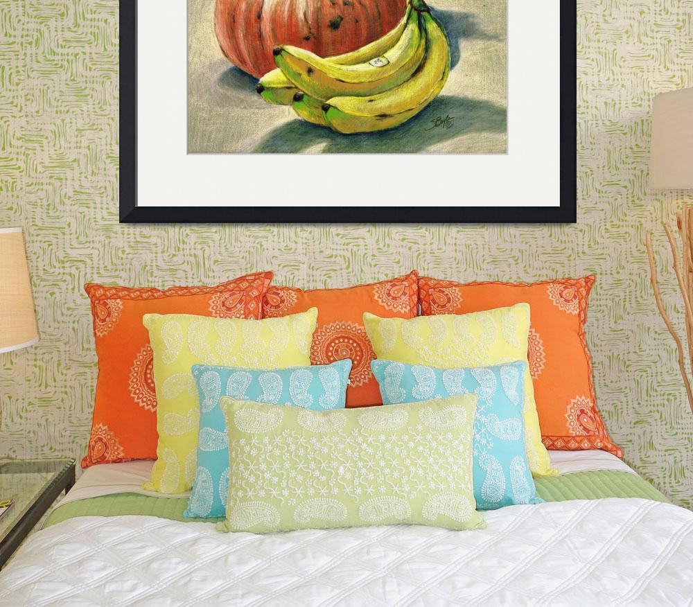 """""""Pumpkin and bananas still life&quot  (1993) by sboyle"""