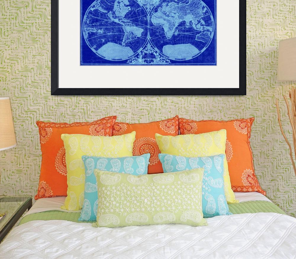 """""""World Map (1691) Blue & Light Blue""""  by Alleycatshirts"""
