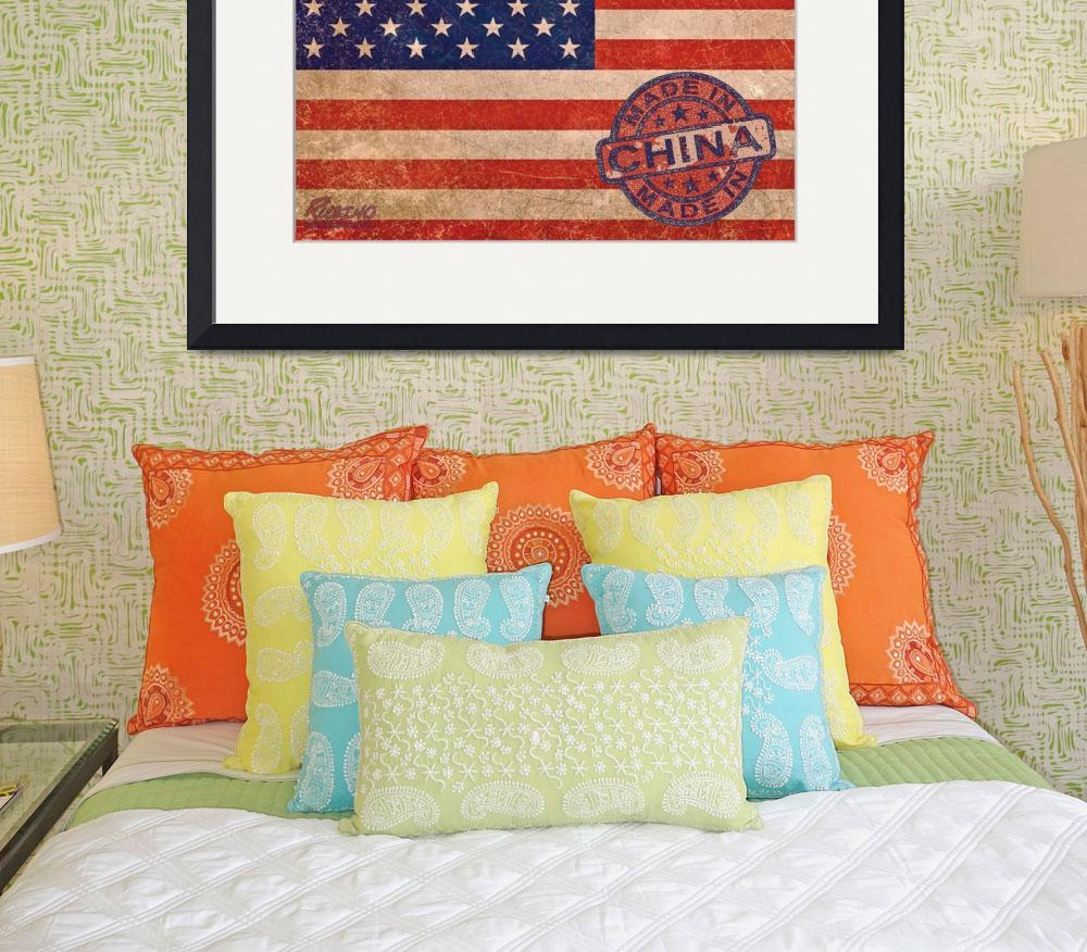"""American Flag Made In China&quot  (2013) by RubinoFineArt"