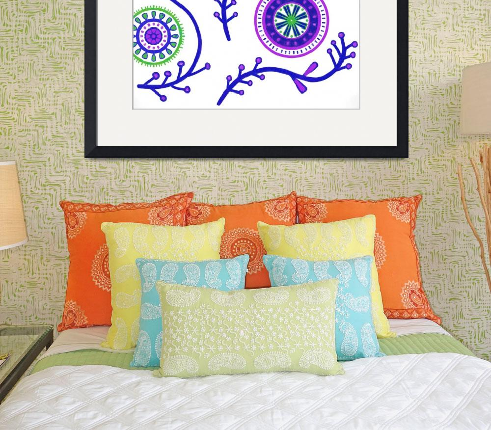 """Purple Green Boho Mandalas&quot  (2015) by CristinaBianco"