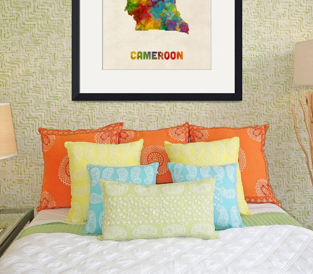 """Cameroon Watercolor Map""  (2017) by ModernArtPrints"