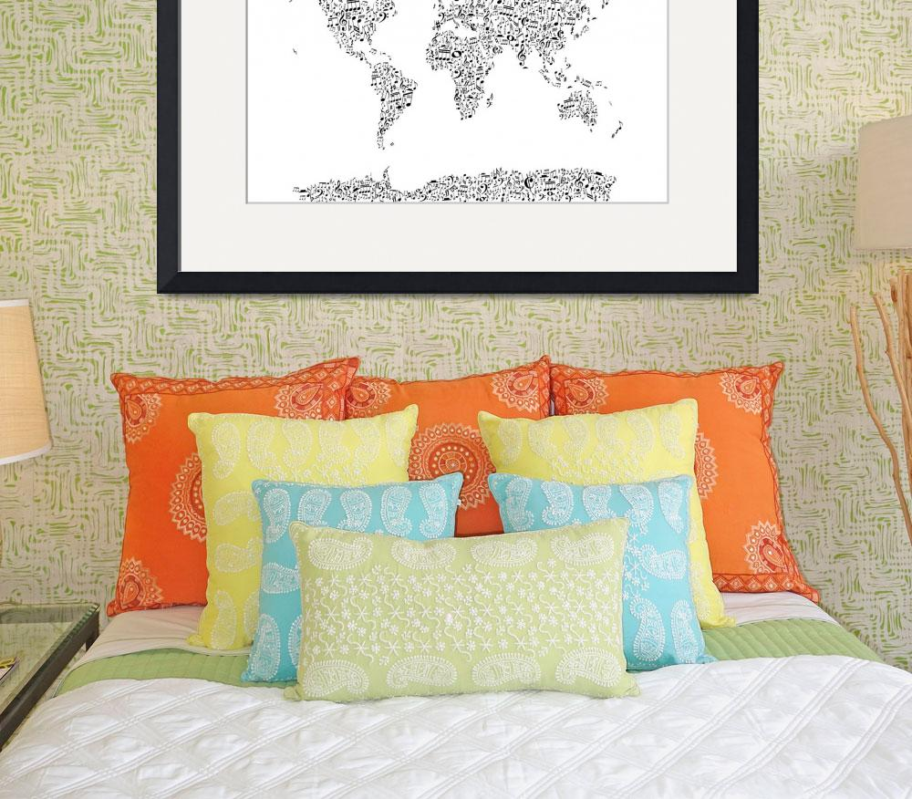 """""""Music Notes Map of the World&quot  (2017) by ModernArtPrints"""