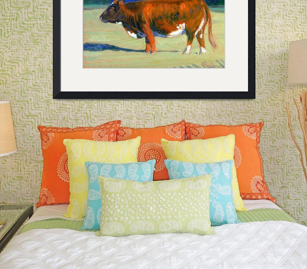 """""""Morning Sun Warmth (cow painting)&quot  (2013) by COusley615"""