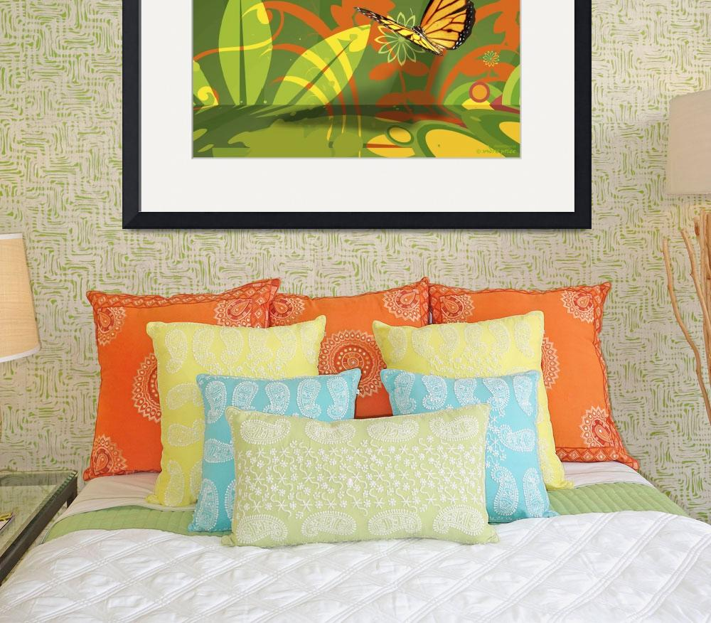 """""""Wallflowers and Butterfly Abstract""""  (2011) by WallArtDeco"""