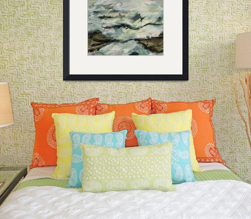 """""""Whitewater Rocks-Abstract Seascape Painting&quot  (2012) by Leyland"""