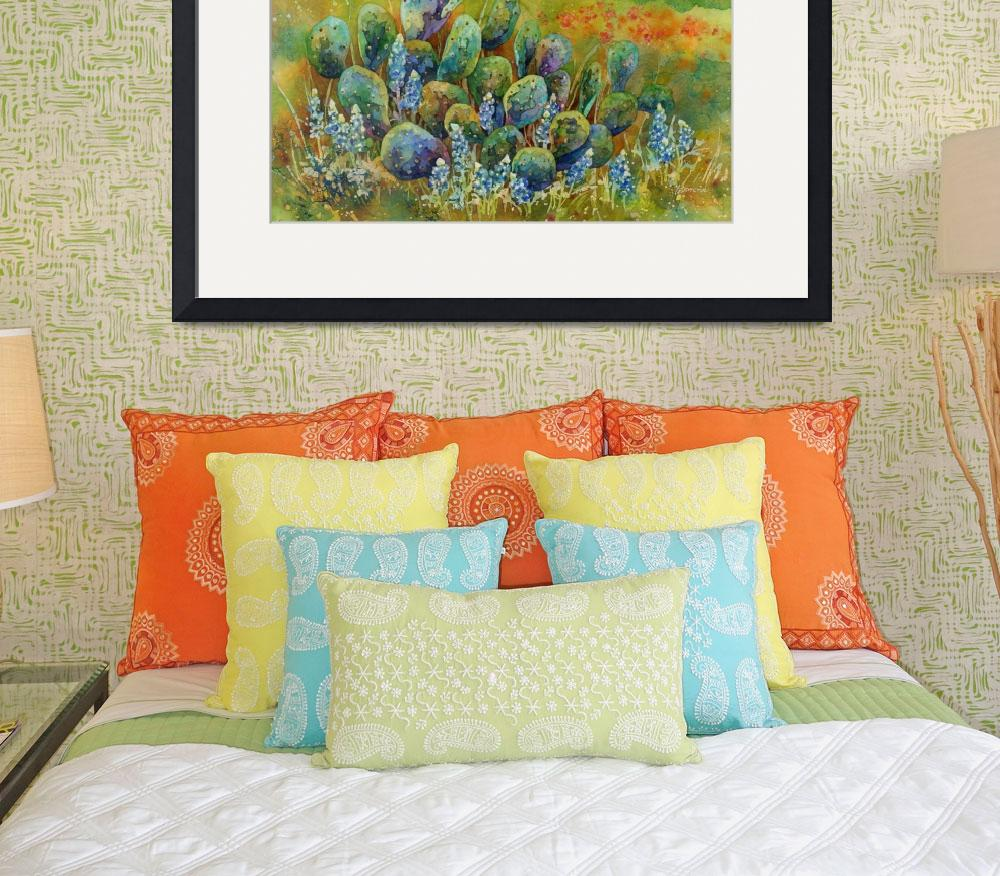 """""""Bluebonnets and Cactus&quot  (2016) by HaileyWatermedia"""